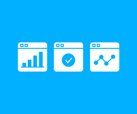 graph and chart in web icons in blue background