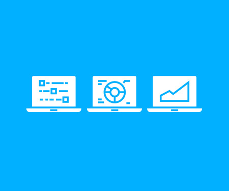 data chart in laptop icons in blue background Ilustração