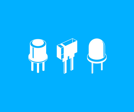 electronic components icons in blue background
