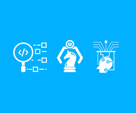artificial intelligence concept icons in blue background