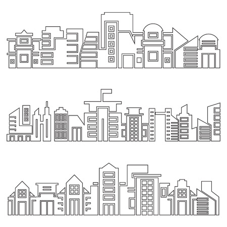 modern city skyscrapers skyline, outline design