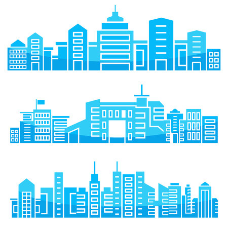 set of modern city skyscrapers skyline, blue in white background