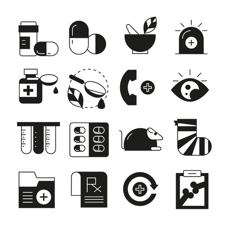 medical and pharmaceutical icons set