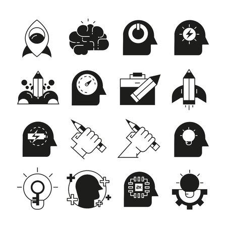 smart thinking and creativity icons