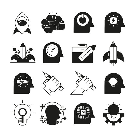 smart thinking and creativity icons Illustration