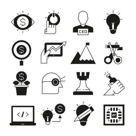 business solution and strategy concept icons