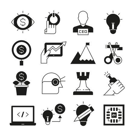 iconos de concepto de estrategia y solución empresarial
