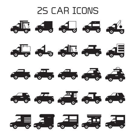 car and vehicle icons set Illustration
