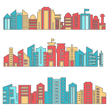 architecture skyscraper skyline vector set
