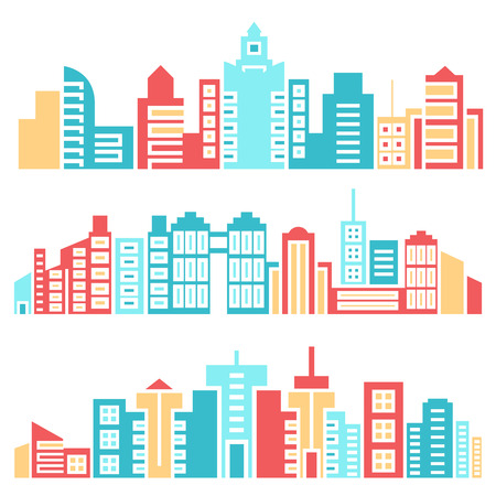 colorful city skyline vector