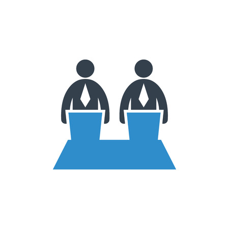 business man debate icon on white background