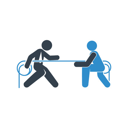 business people playing tug of war icon on white background Archivio Fotografico - 120273532