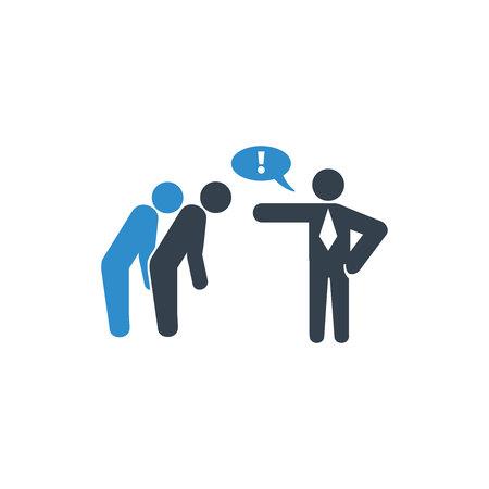 Arbeitgeber beschuldigt seine Mitarbeiter Symbol auf weißem Hintergrund Vektorgrafik