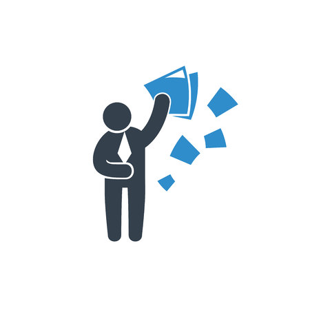 business man throwing paper for resignation concept icon on white background Иллюстрация