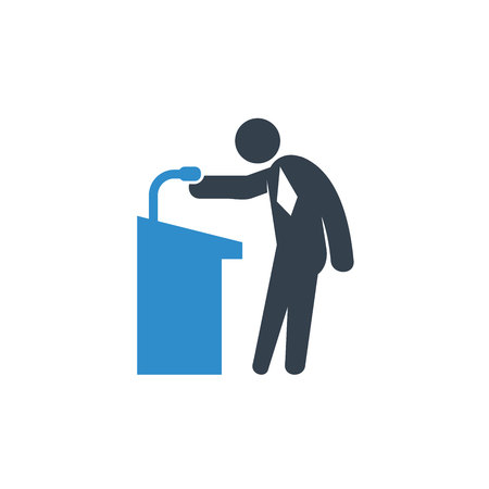 speaker at podium in conference icon on white background Illustration