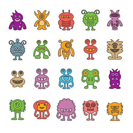 cute monster character icons
