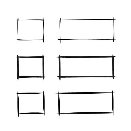 marcos de borde de rectángulo dibujados a mano y grunge