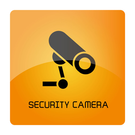 security camera sign in yellow signage