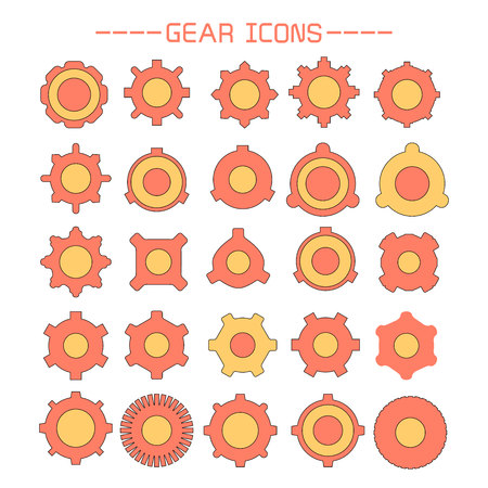 gear and cogwheel icons set Banque d'images - 120273856