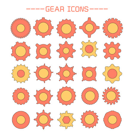 gear and cogwheel icons set Vettoriali