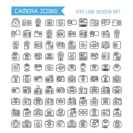 vector camera icons set, line design