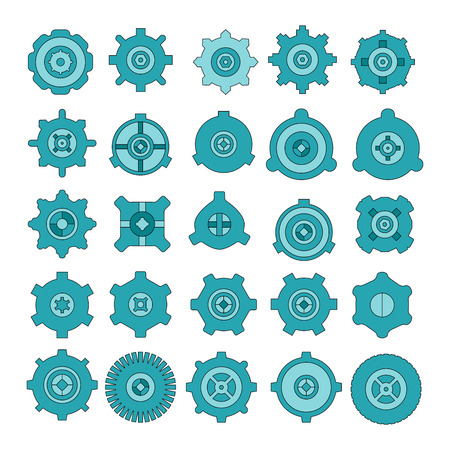 blue cog and gear icons set
