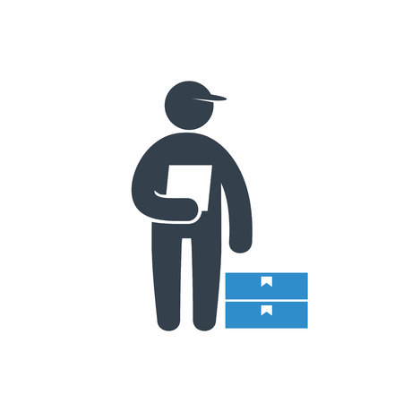 delivery service man icon on white background Stock Illustratie