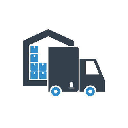 truck delivery and driver at warehouse icon on white background