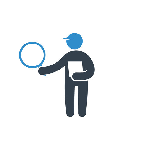person holding magnifier and check list icon on white background Çizim