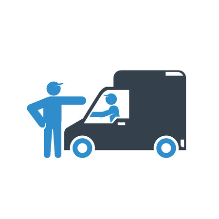 truck delivery and staff, checkpoint checker
