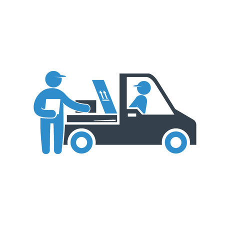 worker conveying, checking a box in for delivery concept