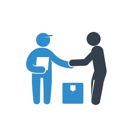 livreur et destinataire ou icône du client sur fond blanc Vecteurs