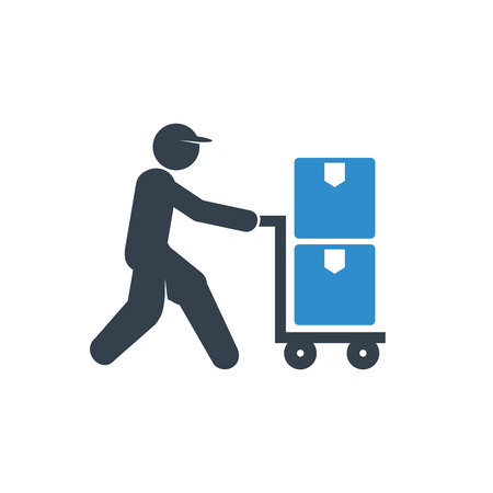 warehouse worker hauling trolley icon on white background Çizim