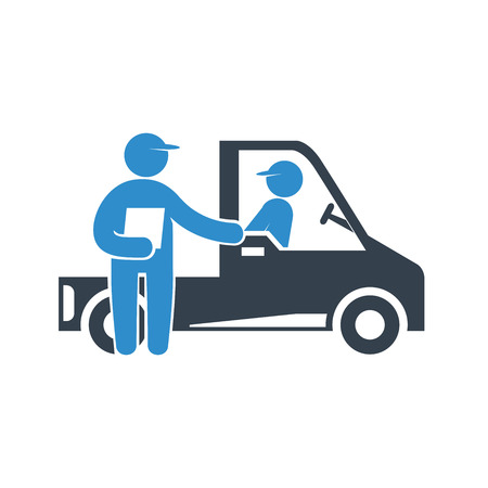 truck delivery and staff, checkpoint checker icon on white background