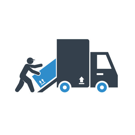 worker conveying, lifting a box in to truck for delivery concept icon
