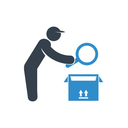worker checking a product in box icon on white background Stock Illustratie