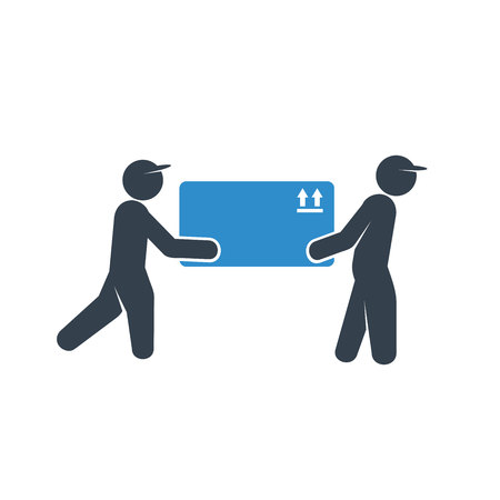 delivery workers lifting a box icon on white background