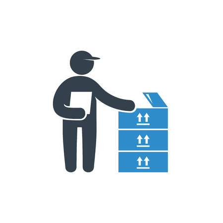 delivery service man checking a product in box icon on white background