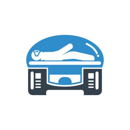 astronaut sleeping in modern medical machine Illustration