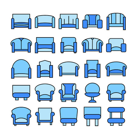 sofa icons, blue theme