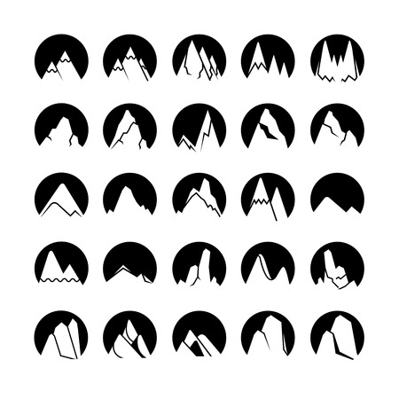 mountain icons in circle