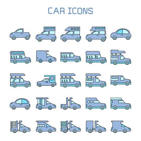 car, truck, camper car icons