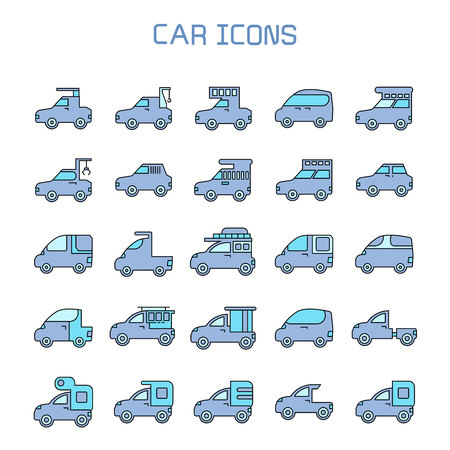 car, truck, camper car icons Иллюстрация