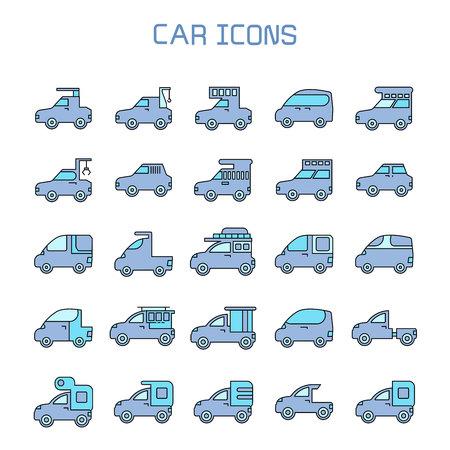 car, truck, camper car icons Illustration