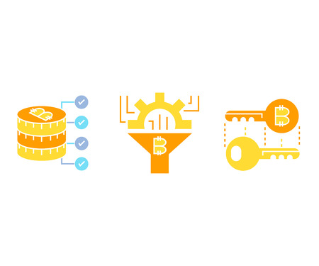 digital currency and bitcoin technology concept icons