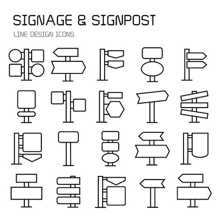 signpost and road sign icons