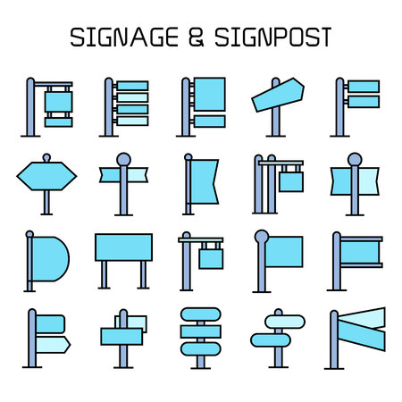 blue guidepost, billboard and signpost icons Vectores
