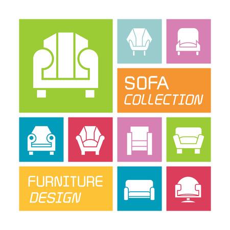 sofa icons colorful design