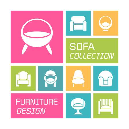 sofa ikony kolorowy design Ilustracje wektorowe