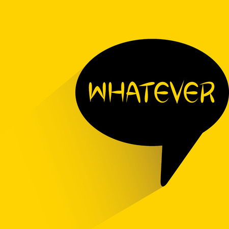 speech bubble on yellow background with whatever word Illustration